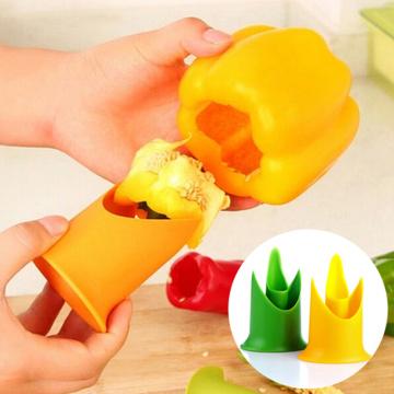 2 in 1 Fruit Core Slicer Tool Plastic Vegetable Seed Remover Pepper Chilli Tomato Peeler Kitchen Utensil Gadget Device