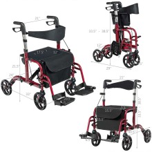 2 in 1 Folding Rollator Walkers for Elderly