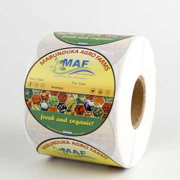 Custom Printed Adhesive Packaging Vegetable Labels Roll
