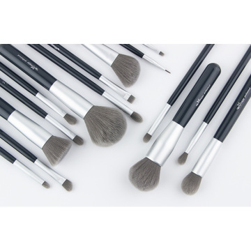 15Pcs Black Wooden Handle Cosmetics Brushes Suit
