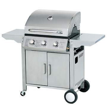 3 Burners Gas Grill With Foldable Side Tables