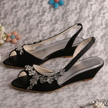 White Satin Wedge Shoes Sandals for Wedding