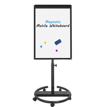Office aluminium frame magnetic flipchart easel in black