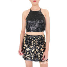 Black and Matt Gold Full Sequined Mini Skirt
