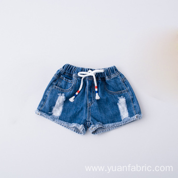 Summer Fashion Ripped Waistband Children Cotton Denim Shorts