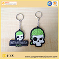Customized skull shape logo 3d silicone keychain