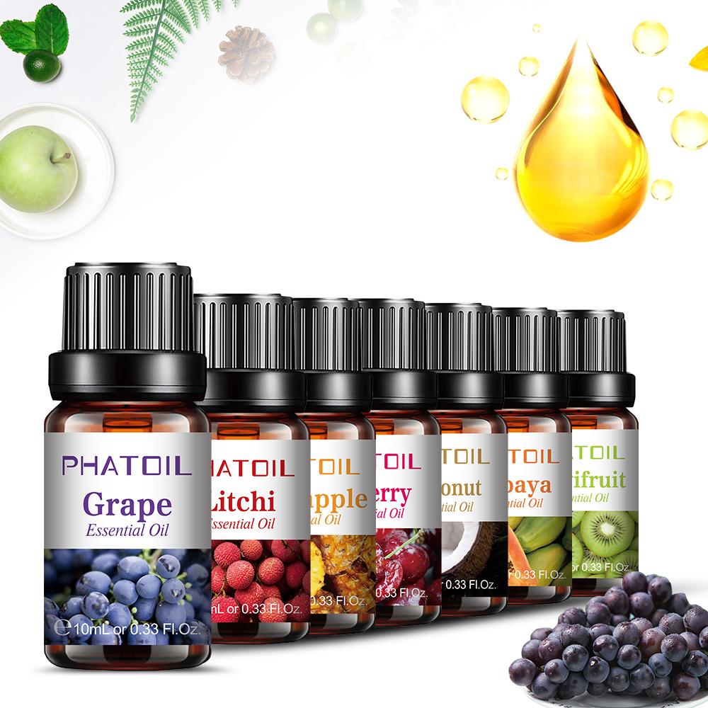 10ML Coconut Fragrance Oil Aroma Essential Oils Set Strawberry Mango Watermelon Pineapple White Musk Flavor Oil For Soap Making