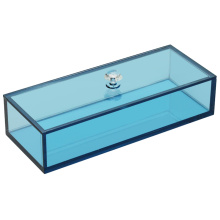 Acrylic Rectangular Storage Box With Lid Colored