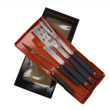 4pcs Metal BBQ Tools Set With Plastic Handle