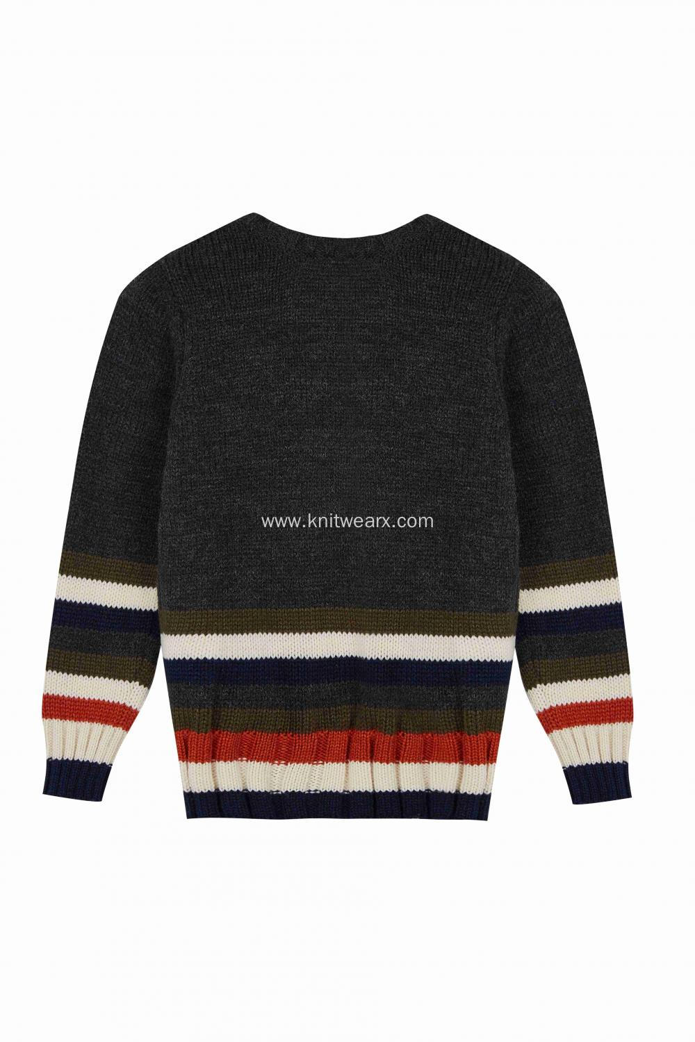 Boy's Knitted Stripe Bottom Crew Neck Pullover