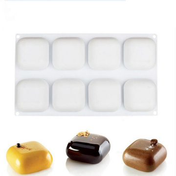 8 Cavity Square Shape Mousse Cake Silicone Mold For DIY Pudding Jelly Small Pillow Shape Chocolate Truffle Dessert Mould