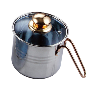 Stainless steel milk pan with metal handle