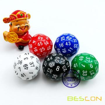 Bescon New Style Polyhedral Dice 50-sided Gaming Dice, D50 die, D50 dice, 50 Sides Dice, 50 Sided Cube, 5 Assorted Opaque Color