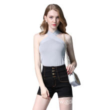 Young Ladies High Waist Skinny Mini Jeans Shorts