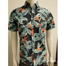 Cotton poplin hawaii print short-sleeve shirt for men