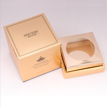 custom suare candle cream box with gold paper