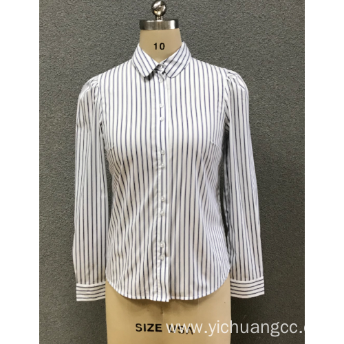 women's white stripe shirt