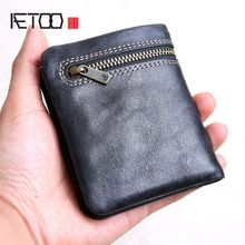 AETOO Mini purse men and women handmade leather ultra-thin soft leather wallet first layer leather wallet short zipper buckle