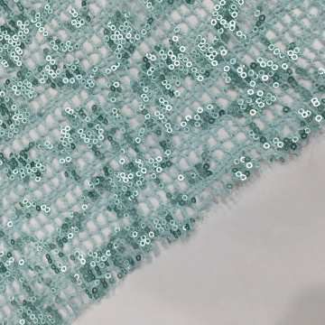 3MM Sequin Embroidery On Check Lace Fabric