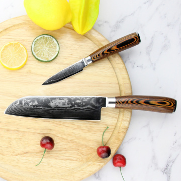 Pakka wood handle kitchen knives damascus steel
