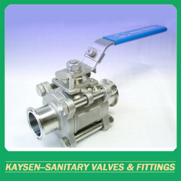 DIN Sanitary ball valves clamp 3 PCS non-retention