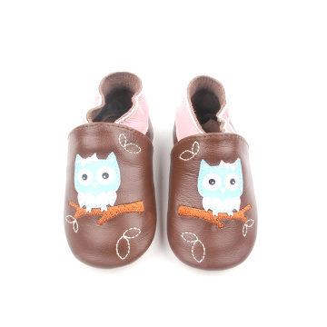 Baby Brown Leather Soft Cute Owl Pattern Shoes