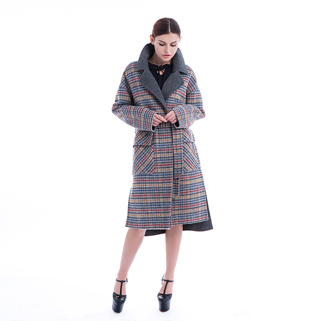 New plaid cashmere coat