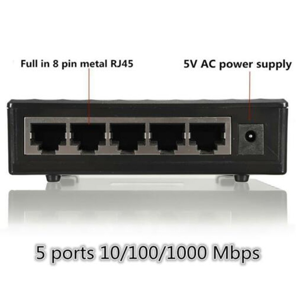 Mini 5-port Desktop Gigabit Switch / Fast Ethernet Network Switch Hub USB 3.1 USB Type-c Reader 15cm EU EDUP CE