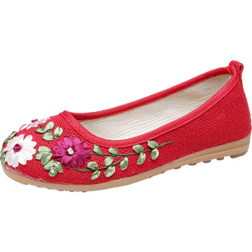 Flower Shoes Embroidery flag National Handmade
