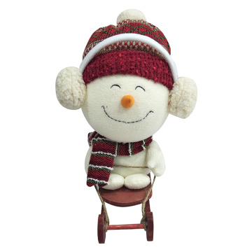 Christmas skiing snowman decoration white plush