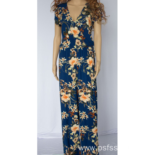 Long Jumpsuits with Blue Printed