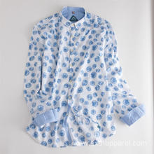 Men's Long Sleeve Casual Little Daisy Print Shirt