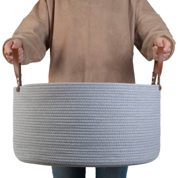 Large Customized Leather Foldable Cotton Rope Basket