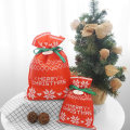 Two Size Red Christmas Drawstring Gift Bags