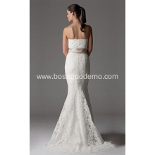 Trumpet Mermaid Strapless Chapel Train Lace Ribbon Wedding Dress