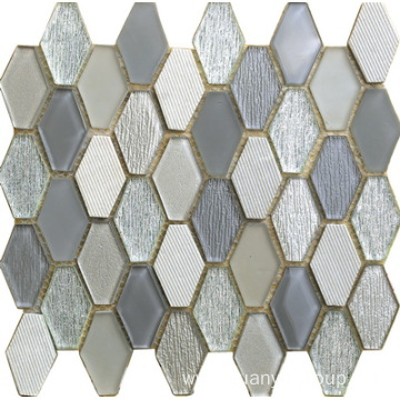 Glass Mixed Stone Hexagon Mosaic