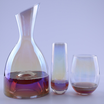 Ion Plating Rainbow Effect Set Glass Wine Glass And Pitcher