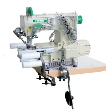 Direct drive cylinder bed interlock sewing machine with automatic trimmer and tubular elastic waist band attachment
