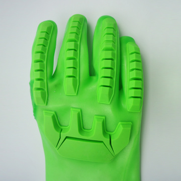 Fluorescent Green PVC coated gloves with TPR