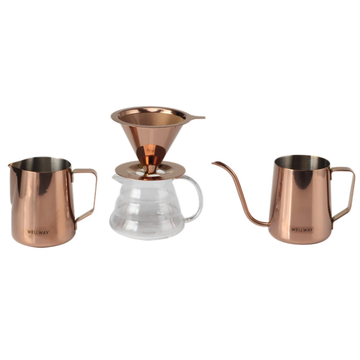Stainless steel flip coffee kettle Three-piece Set