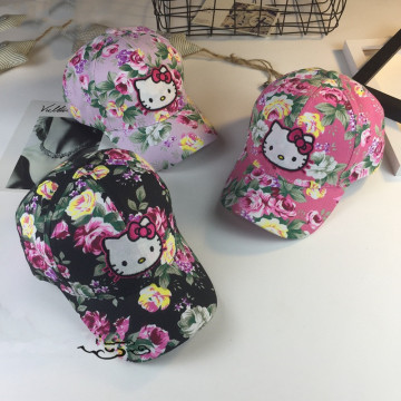 New Hello kitty Girl kid 3D Embroidery Hats
