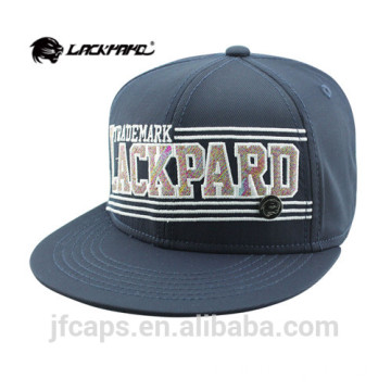 embroidery and metal applique navy snapback hiphop cap