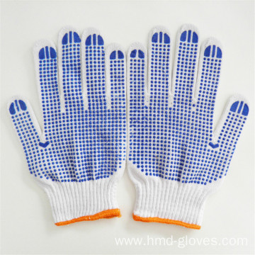 Cotton Knitted Double PVC Dotted Safety Working Gloves