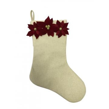 2020 Christmas stocking with flower decoration