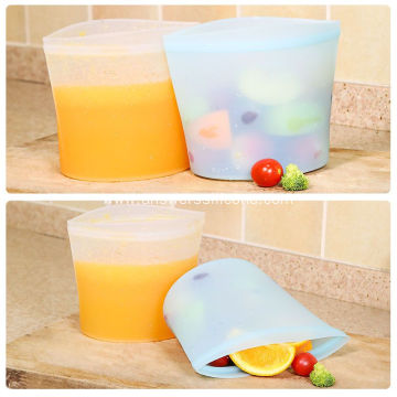 Airtight silicone food storage pouch stasher zip bag
