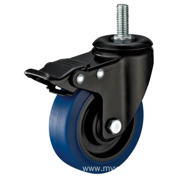 3inch Threaded Stem Swivel Electrophoresis Black Blue TPR Casters With Top Brake