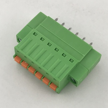 spring type pluggable terminal block with flange ears