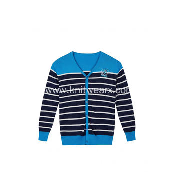 Boy's Knitted Striped Logo Embroidery Buttoned Cardigan