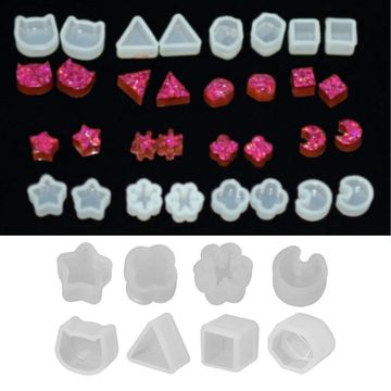 8 Pair UV Resin Silicone Molds DIY Crystal Epoxy Mold Small Earrings Stud Epoxy Resin Making Mould