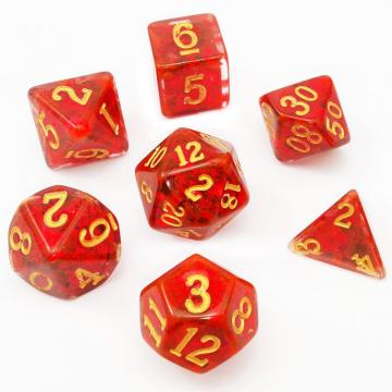 Bescon Dense-Core Polyhedral Dice Set of Deep Red, RPG 7-dice Set in Brick Box Packing